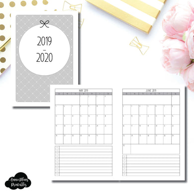 A5 Rings Size | 2019 - 2020 Single Page Monthly Printable Insert ©