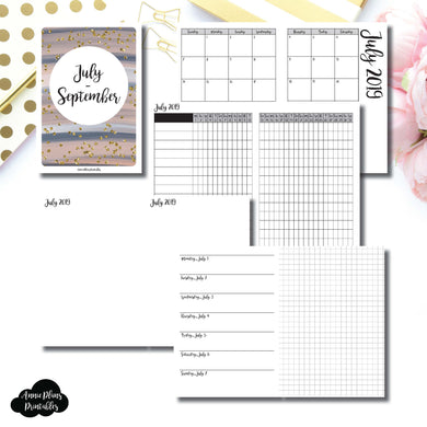 A6 TN Size | JUL - SEP 2019 | Horizontal Week on 1 Page + GRID (Monday Start) Printable Insert ©