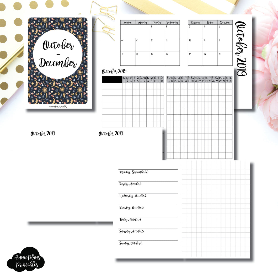 PASSPORT TN Size | OCT - DEC 2019 | Horizontal Week on 1 Page + GRID (Monday Start) Printable Insert ©