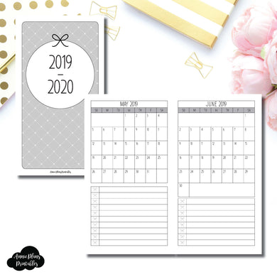 Personal TN Size | 2019 - 2020 Single Page Monthly Printable Insert ©