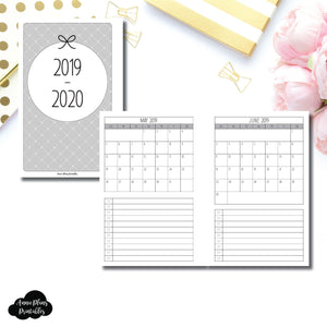 Mini HP Size | 2019 - 2020 Single Page Monthly Printable Insert ©