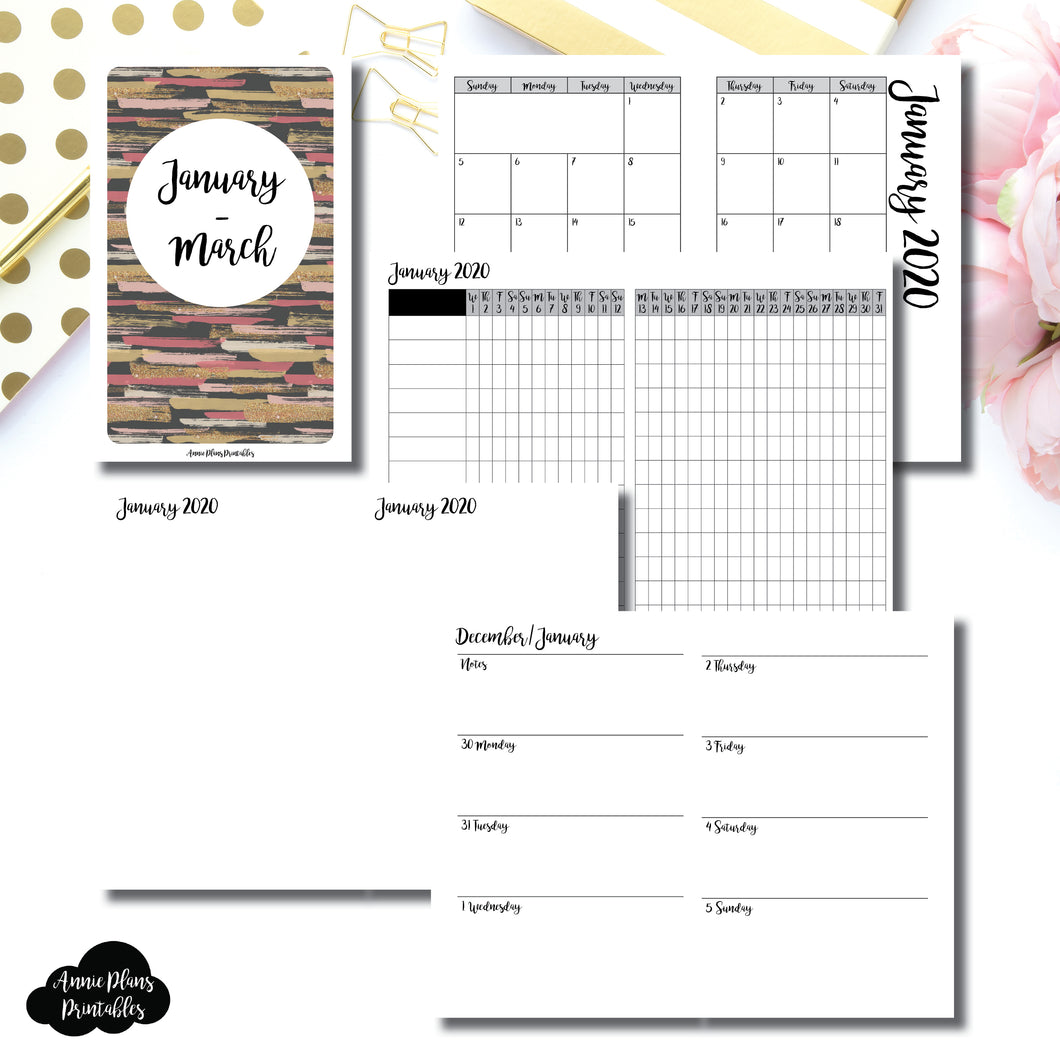 Pocket TN Size | JAN  - MAR 2020 | Week on 2 Page (Monday Start) Horizontal Layout | Printable Insert ©