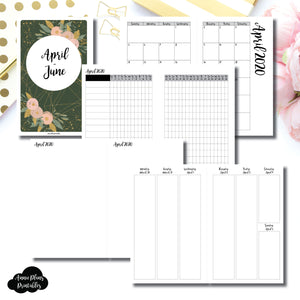 Half Letter Rings Size | APR - JUN 2020 | Vertical Week on 2 Page (Monday Start) Printable Insert ©