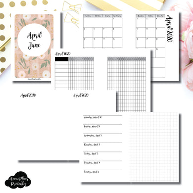 Pocket Plus Rings Size | APR - JUN 2020 | Horizontal Week on 1 Page + GRID (Monday Start) Printable Insert ©