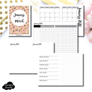 Passport TN Size | JAN - MAR 2020 | Horizontal Week on 1 Page + GRID (Monday Start) Printable Insert ©