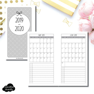 Personal Rings Size | 2019 - 2020 Single Page Monthly Printable Insert ©