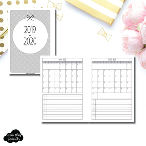 Personal Wide Rings Size | 2019 - 2020 Single Page Monthly Printable Insert ©