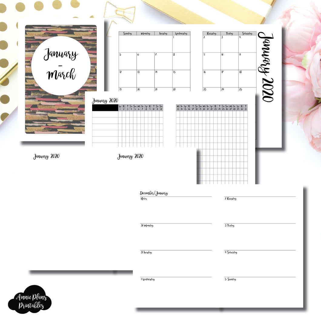 A5 Rings Size | JAN  - MAR 2020 | Week on 2 Page (Monday Start) Horizontal Layout | Printable Insert ©