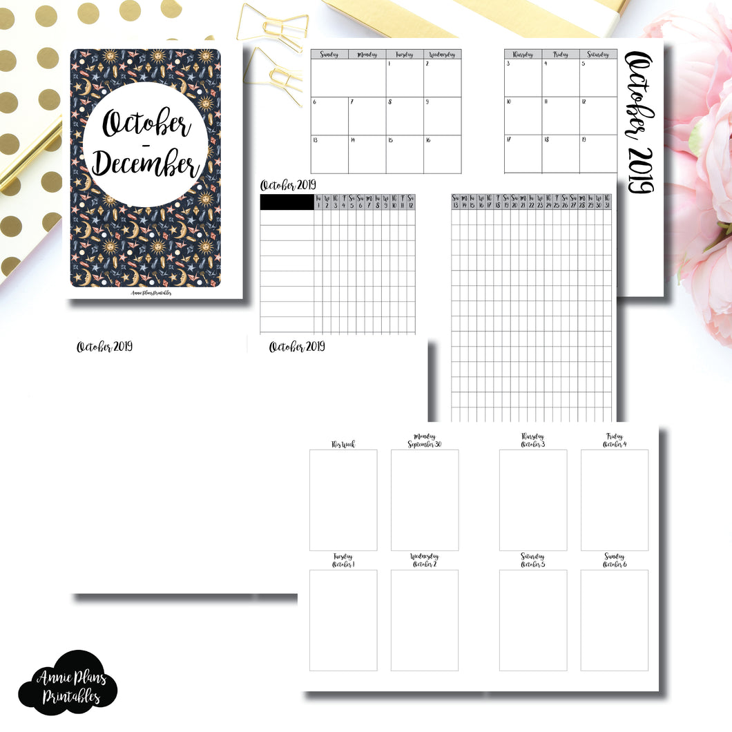 A6 RINGS Size | OCT - DEC  2019 | Vertical Week on 2 Page (Monday Start) Printable Insert ©