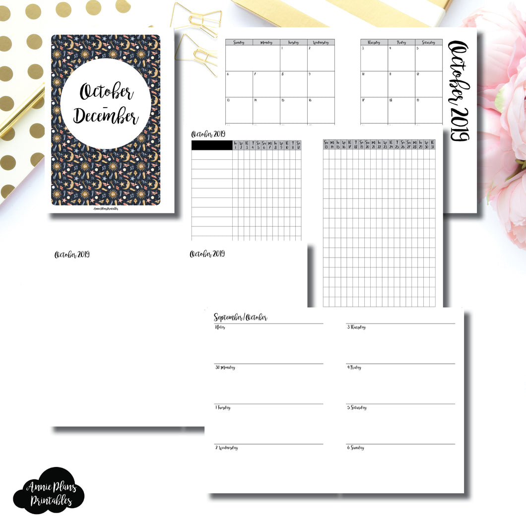 PERSONAL WIDE RINGS Size | OCT - DEC 2019 | Week on 2 Page (Monday Start) Horizontal Layout | Printable Insert ©
