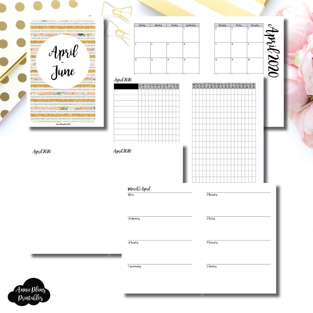 Personal Wide Rings Size | APR  - JUN 2020 | Week on 2 Page (Monday Start) Horizontal Layout | Printable Insert ©