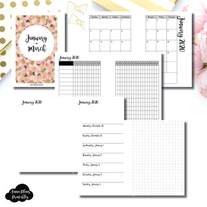 Pocket Plus Rings Size | JAN - MAR 2020 | Horizontal Week on 1 Page + GRID (Monday Start) Printable Insert ©