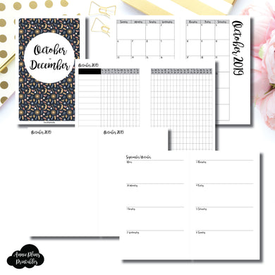 Half Letter Rings Size | OCT - DEC 2019 | Week on 2 Page (Monday Start) Horizontal Layout | Printable Insert ©