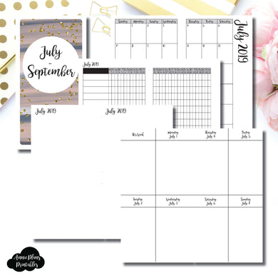 Standard TN Size | JUL - SEP  2019 | Vertical Week on 2 Page (Monday Start) Printable Insert ©