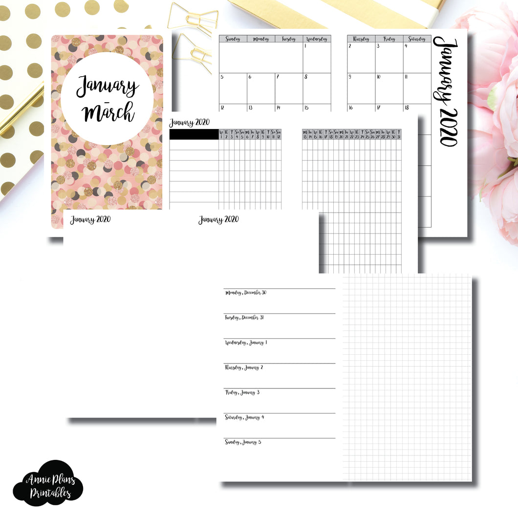 B6 Slim TN Size | JAN - MAR 2020 | Horizontal Week on 1 Page + GRID (Monday Start) Printable Insert ©