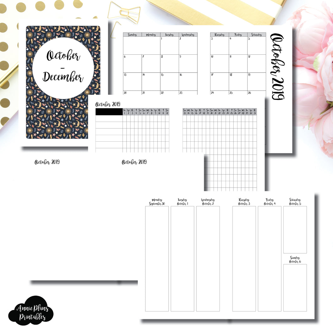 A5 Rings Size | OCT - DEC  2019 | Vertical Week on 2 Page (Monday Start) Printable Insert ©