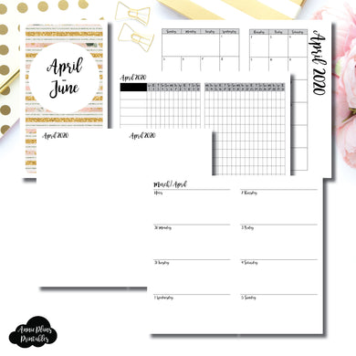Personal TN Size | APR  - JUN 2020 | Week on 2 Page (Monday Start) Horizontal Layout | Printable Insert ©