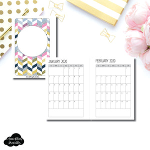 Pocket Plus Rings Size | SIMPLE FONT 24 Month (JAN 2020 - DEC 2021) SINGLE PAGE Monthly Printable Insert ©