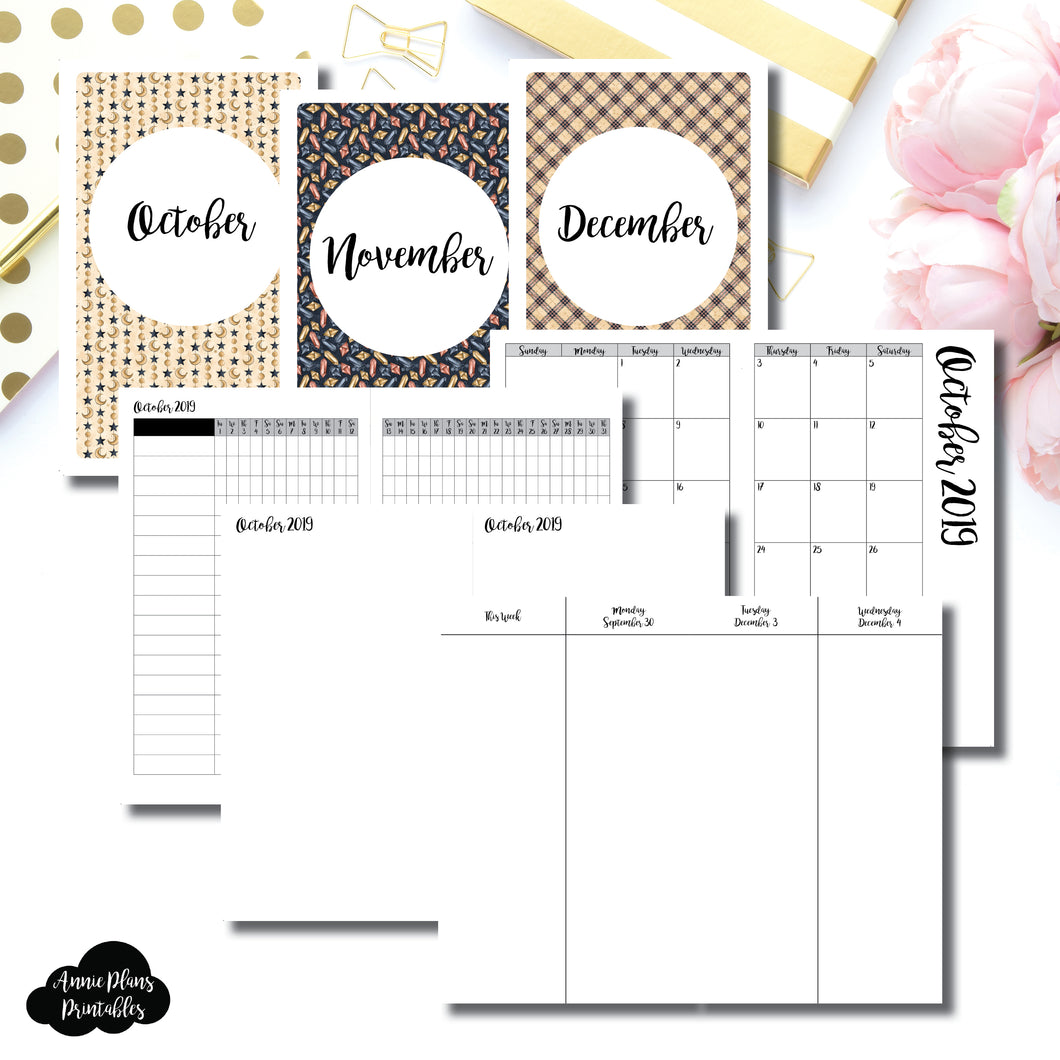 Cahier TN Size | OCT - DEC 2019 | Week on 4 Pages (Monday Start) Vertical Layout | Printable Insert ©