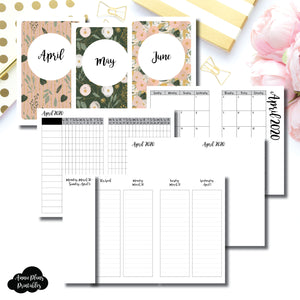 Pocket TN Size | APR - JUNE 2020 | Week on 4 Pages (Monday Start) LINED Vertical Layout | Printable Insert ©