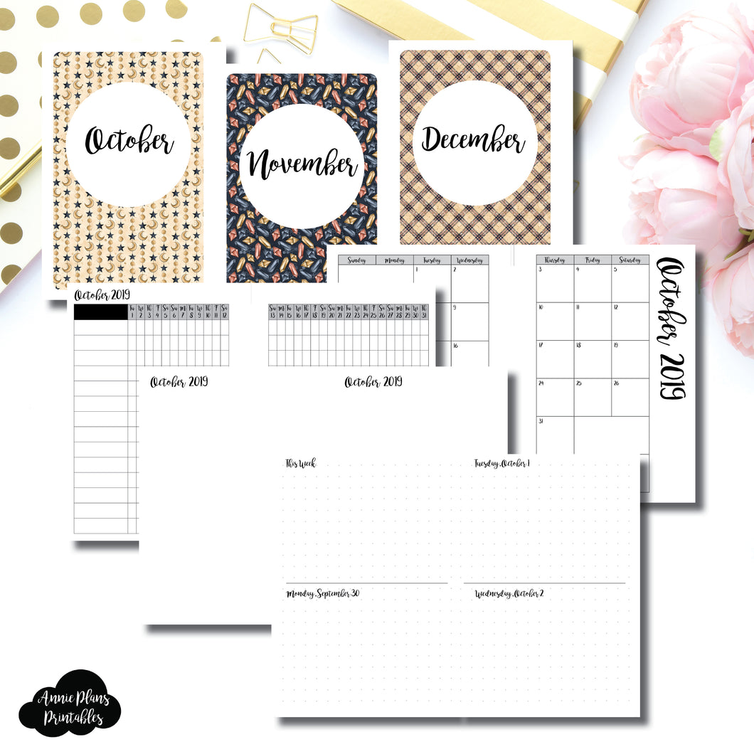 A6 Rings Size | OCT - DEC 2019 | Week on 4 Pages (Monday Start) Horizontal Layout | Printable Insert ©