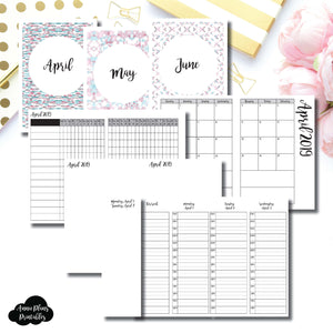 A6 TN Size | APR - JUN 2019 | Week on 4 Pages (Monday Start) TIMED Vertical Layout | Printable Insert ©