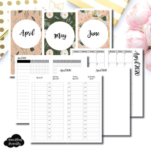Standard TN Size | APR - JUN 2020 | Week on 4 Pages (Monday Start) TIMED Vertical Layout | Printable Insert ©
