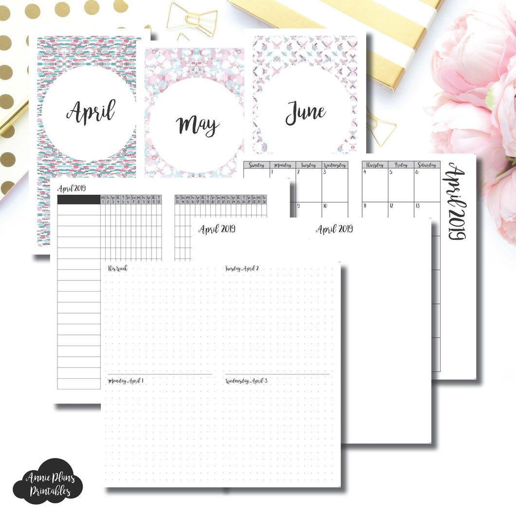 Cahier TN Size | APR - JUN 2019 | Week on 4 Pages (Monday Start) Horizontal Layout | Printable Insert ©