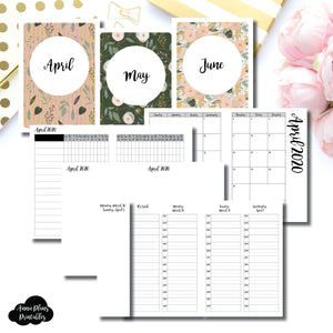 A6 TN Size | APR - JUN 2020 | Week on 4 Pages (Monday Start) TIMED Vertical Layout | Printable Insert ©