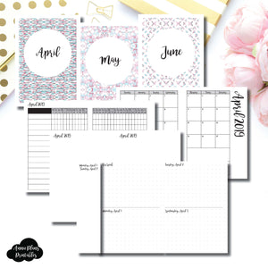 A6 TN Size | APR - JUN 2019 | Week on 4 Pages (Monday Start) Horizontal Layout | Printable Insert ©