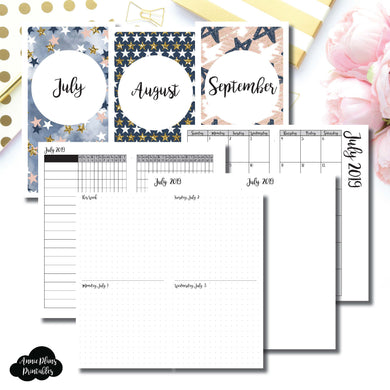 Standard TN Size | JUL - SEP 2019 | Week on 4 Pages (Monday Start) Horizontal Layout | Printable Insert ©