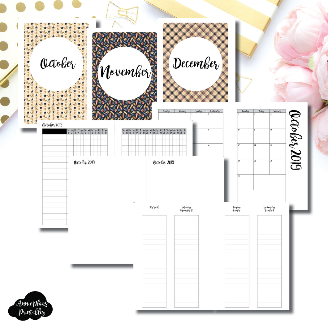 Personal Wide Rings Size | OCT - DEC 2019 | Week on 4 Pages (Monday Start) LINED Vertical Layout | Printable Insert ©