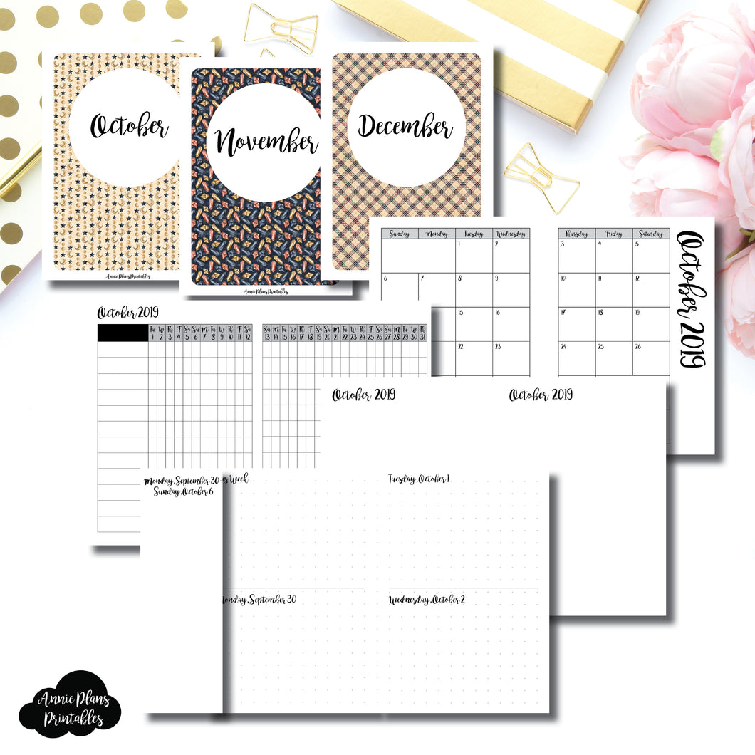 Passport TN Size | OCT - DEC 2019 | Week on 4 Pages (Monday Start) Horizontal Layout | Printable Insert ©