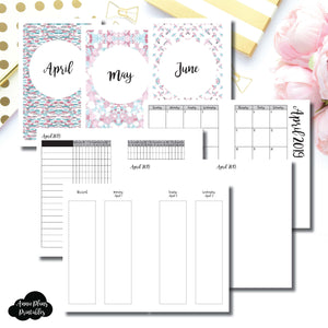 Mini HP Size | APR - JUN 2019 | Week on 4 Pages (Monday Start) Vertical Layout | Printable Insert ©