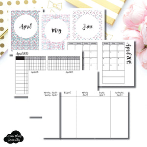 Micro TN Size | APR - JUN 2019 | Week on 4 Pages (Monday Start) Vertical Layout | Printable Insert ©
