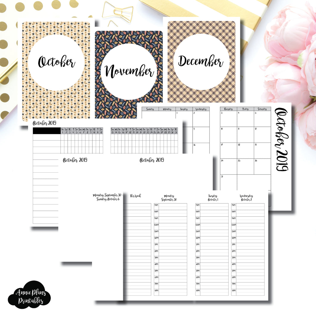 A6 TN Size | OCT - DEC 2019 | Week on 4 Pages (Monday Start) TIMED Vertical Layout | Printable Insert ©