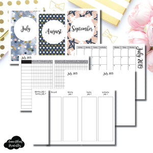 Pocket TN Size | JUL - SEP 2019 | Week on 4 Pages (Monday Start) Vertical Layout | Printable Insert ©