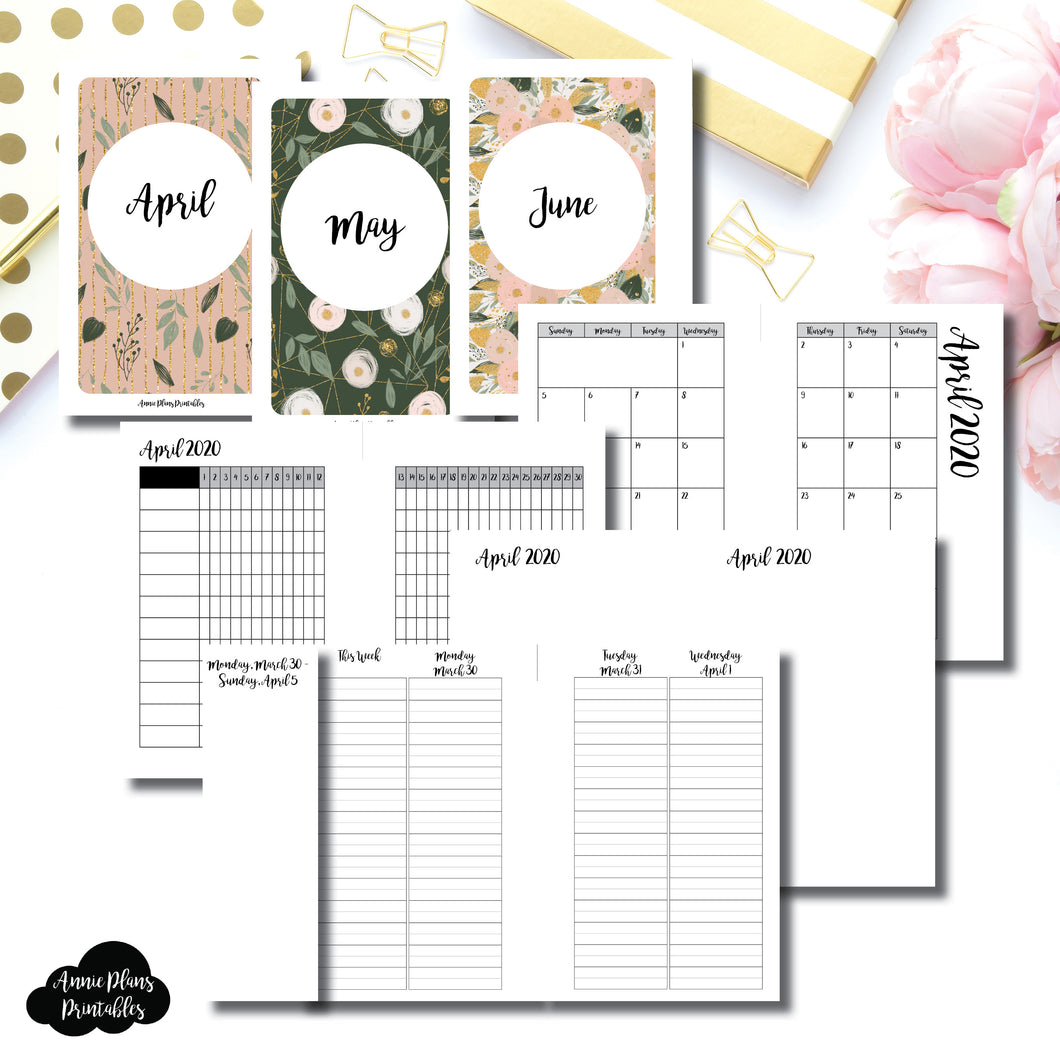Pocket Rings Size | APR - JUN 2020 | Week on 4 Pages (Monday Start) LINED Vertical Layout | Printable Insert ©