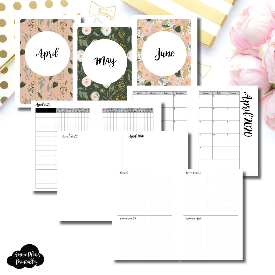Personal Wide Rings Size | APR - JUN 2020 | Week on 4 Pages (Monday Start) Horizontal Layout | Printable Insert ©