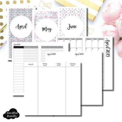 Standard TN Size | APR - JUN 2019 | Week on 4 Pages (Monday Start) Vertical Layout | Printable Insert ©