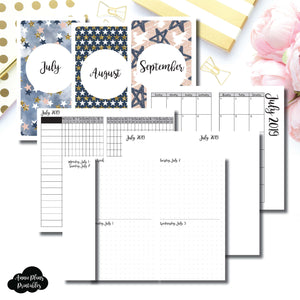 Personal TN Size | JUL - SEP 2019 | Week on 4 Pages (Monday Start) Horizontal Layout | Printable Insert ©