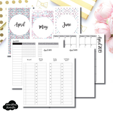 Standard TN Size | APR - JUN 2019 | Week on 4 Pages (Monday Start) TIMED Vertical Layout | Printable Insert ©