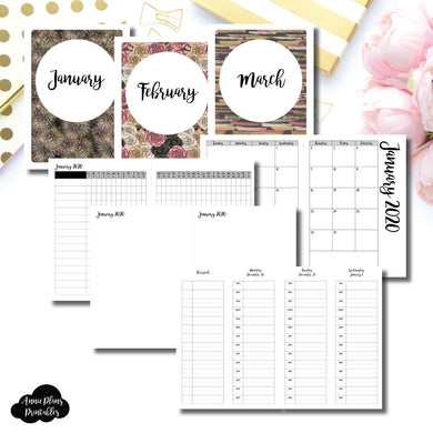 B6 TN Size | JAN - MAR 2020 | Week on 4 Pages (Monday Start) TIMED Vertical Layout | Printable Insert ©