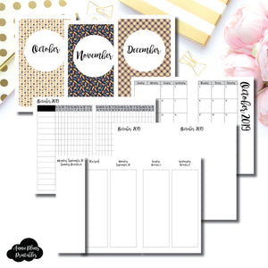 Pocket TN Size | OCT - DEC 2019 | Week on 4 Pages (Monday Start) Vertical Layout | Printable Insert ©