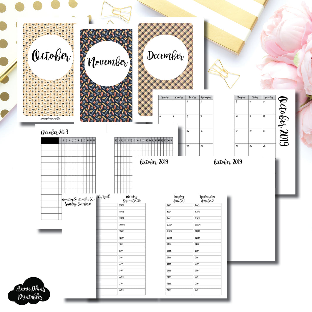 Pocket Rings Size | OCT - DEC 2019 | Week on 4 Pages (Monday Start) TIMED Vertical Layout | Printable Insert ©