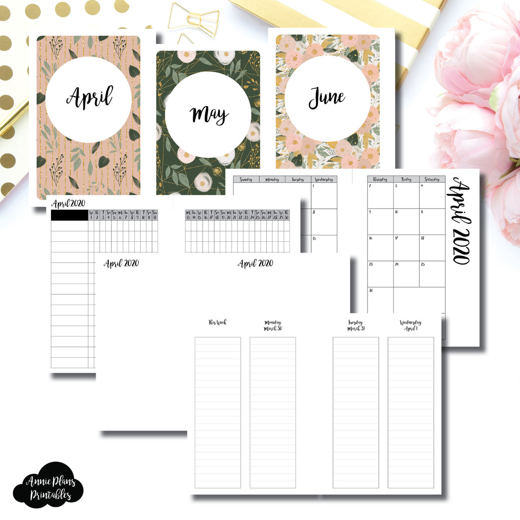 A6 Rings Size | APR - JUN 2020 | Week on 4 Pages (Monday Start) LINED Vertical Layout | Printable Insert ©