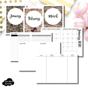 B6 TN Size | JAN - MAR 2020 | Week on 4 Pages (Monday Start) Vertical Layout | Printable Insert ©