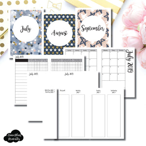 A6 TN Size | JUL - SEP 2019 | Week on 4 Pages (Monday Start) Vertical Layout | Printable Insert ©