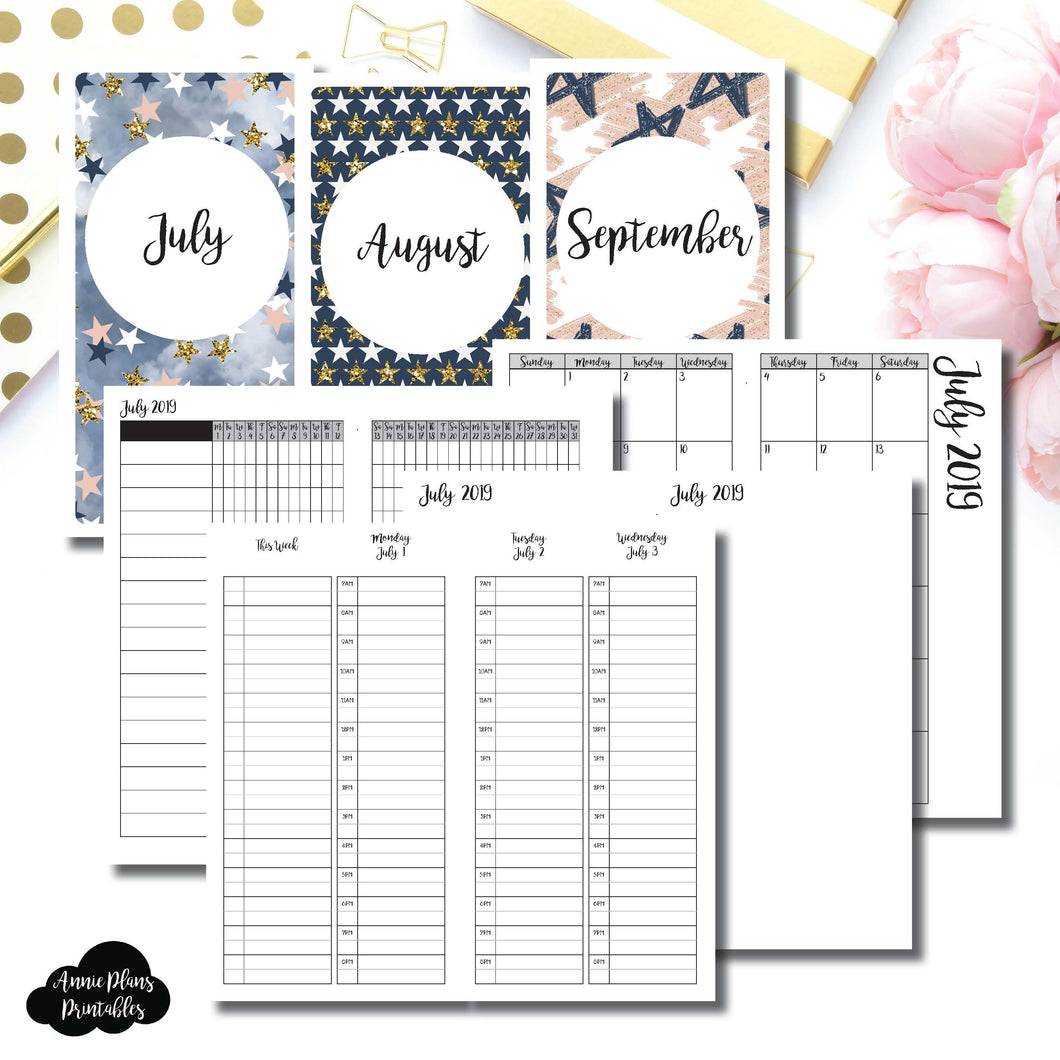 Standard TN Size | JUL - SEP 2019 | Week on 4 Pages (Monday Start) TIMED Vertical Layout | Printable Insert ©