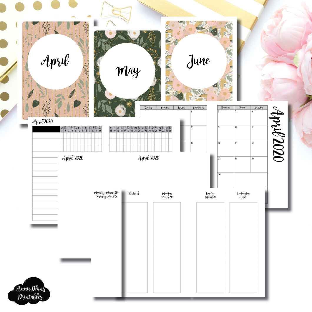A6 TN Size | APR - JUN 2020 | Week on 4 Pages (Monday Start) Vertical Layout | Printable Insert ©